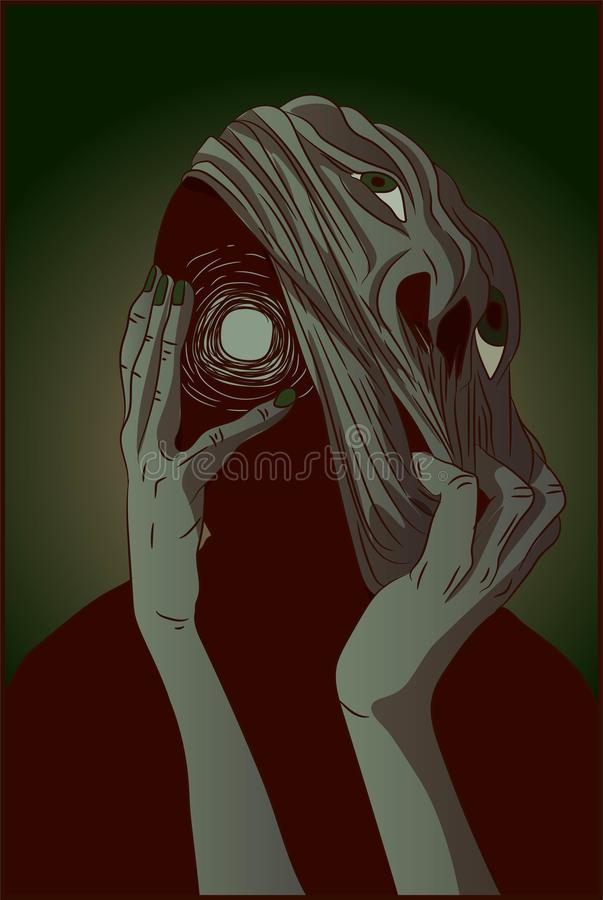 Slender mutant creature ripping off his face with no eyes. Halloween horror terror illustration of green ghost spirit screaming. Empty eyes without soul vector illustration