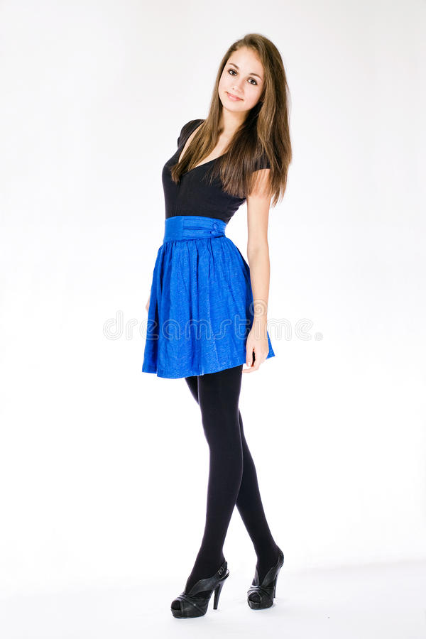 Slender young model. stock photos