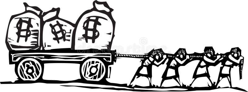 Slepend Geld royalty-vrije illustratie