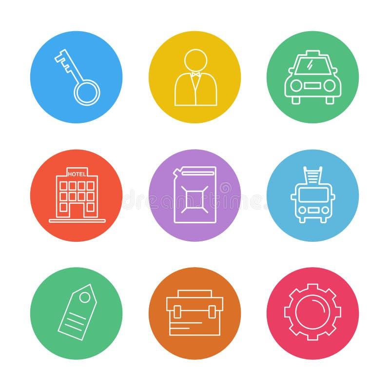 sleutel, brandvrachtwagen, het plaatsen, toestel, markering, vervoer, reis, t vector illustratie