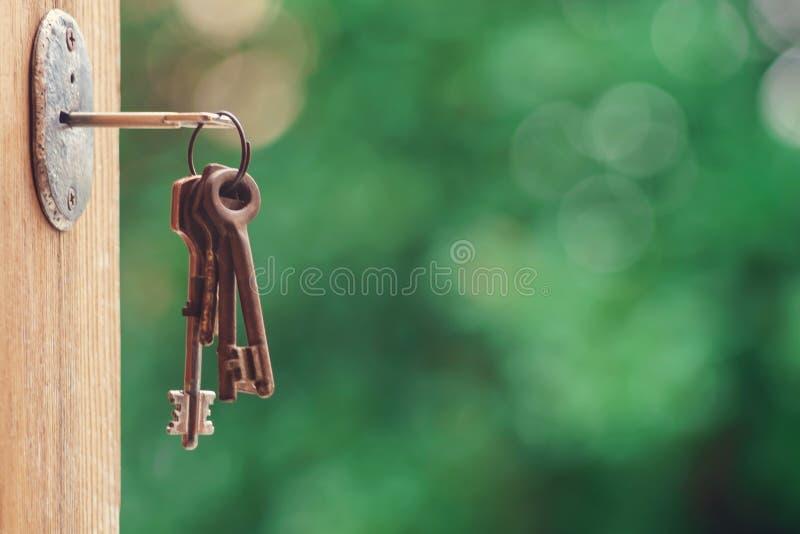 Sleutel in deurslot stock foto