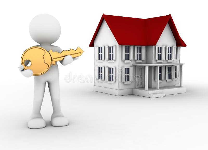 Sleutel en huis stock illustratie