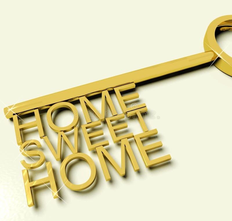 Sleutel met de Zoete Teksten van het Huis als Symbool voor Bezit vector illustratie