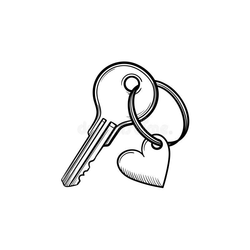 Sleutel met het hart gevormde keyholder hand getrokken pictogram van de overzichtskrabbel stock illustratie
