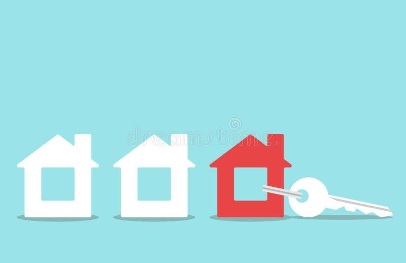 Sleutel met huistrinket royalty-vrije stock afbeeldingen