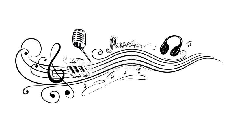 Sleutel, muzieknota's royalty-vrije illustratie
