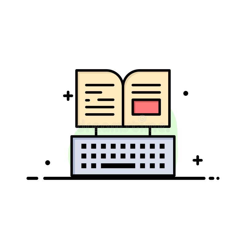 Sleutel, Toetsenbord, Boek, Facebook-Malplaatje van de Bedrijfs het Vlakke Lijn Gevulde Pictogram Vectorbanner stock illustratie