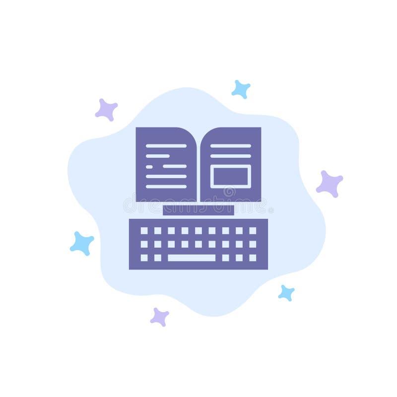 Sleutel, Toetsenbord, Boek, het Blauwe Pictogram van Facebook op Abstracte Wolkenachtergrond stock illustratie