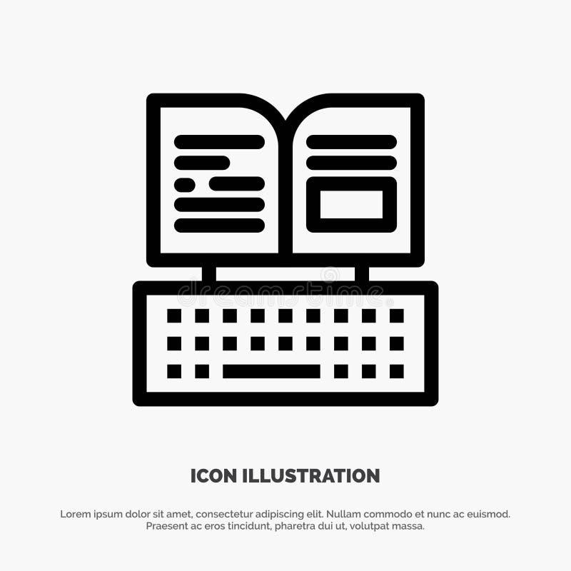 Sleutel, Toetsenbord, Boek, Vector de Lijnpictogram van Facebook royalty-vrije illustratie