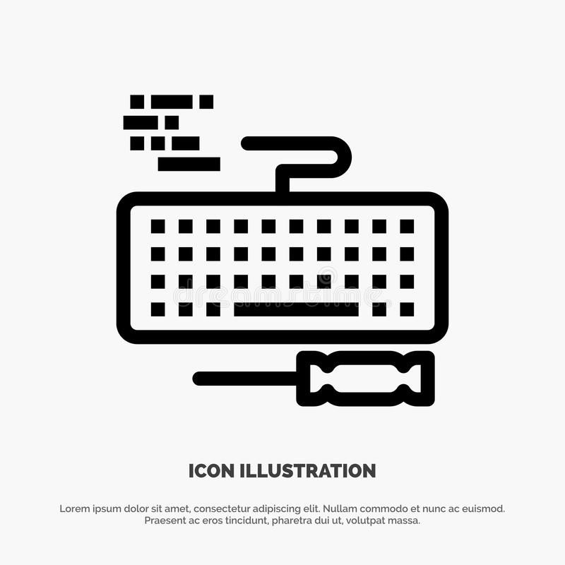Sleutel, Toetsenbord, Hardware, het Pictogramvector van de Reparatielijn stock illustratie