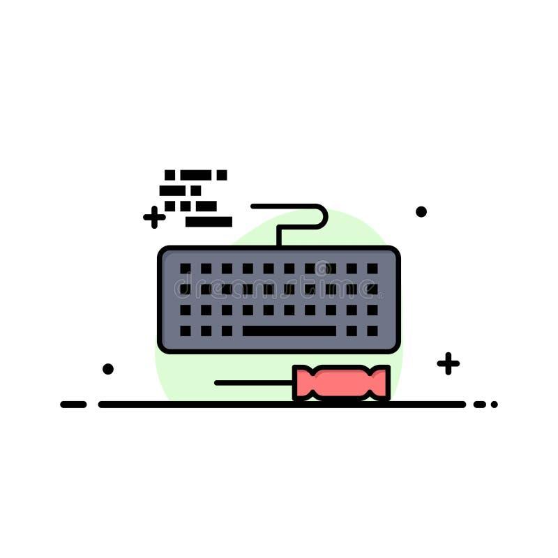 Sleutel, Toetsenbord, Hardware, Malplaatje Reparatie van de Bedrijfs het Vlakke Lijn Gevulde Pictogram Vectorbanner royalty-vrije illustratie