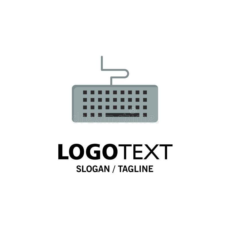 Sleutel, Toetsenbord, Hardware, Onderwijszaken Logo Template vlakke kleur vector illustratie