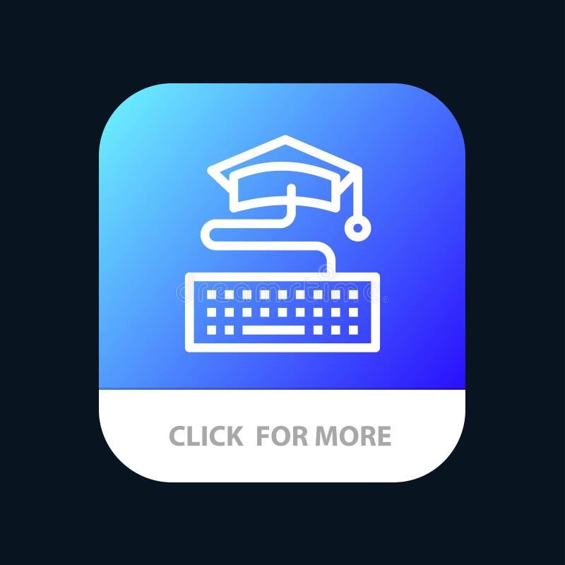 Sleutel, Toetsenbord, Onderwijs, de Knoop van de Graduatiemobiele toepassing Android en IOS Lijnversie stock illustratie