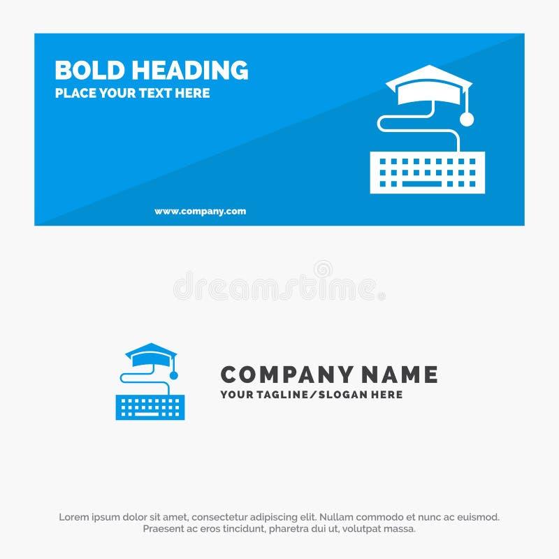 Sleutel, Toetsenbord, Onderwijs, de Websitebanner en Zaken Logo Template van het Graduatie Stevige Pictogram royalty-vrije illustratie