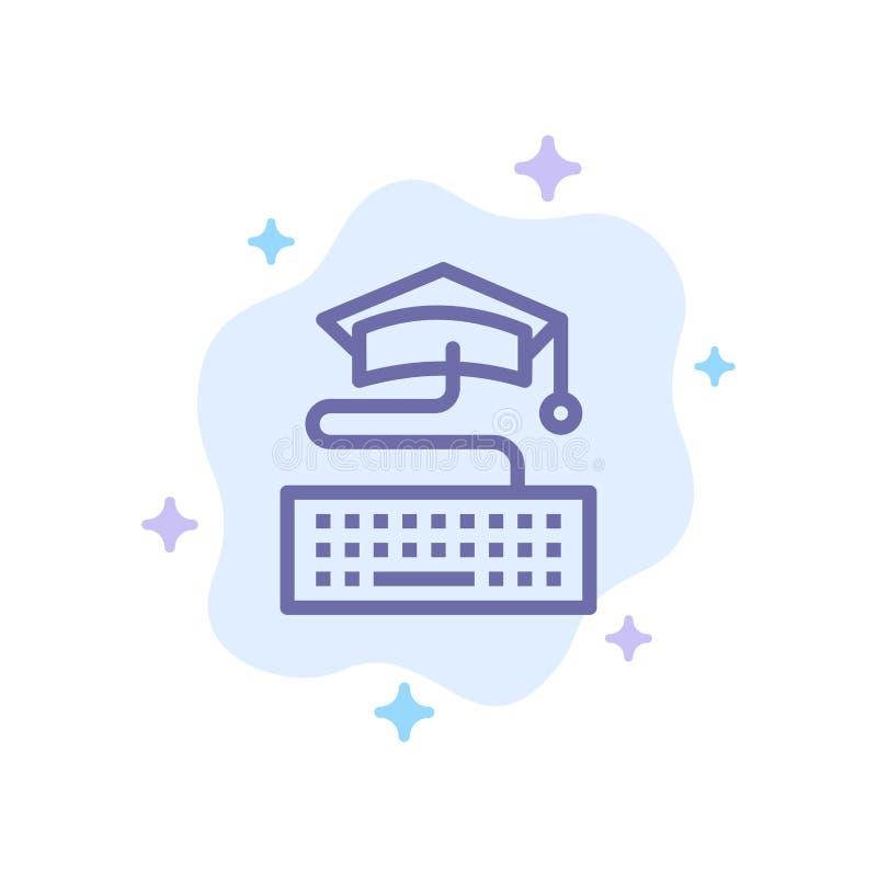 Sleutel, Toetsenbord, Onderwijs, Graduatie Blauw Pictogram op Abstracte Wolkenachtergrond stock illustratie