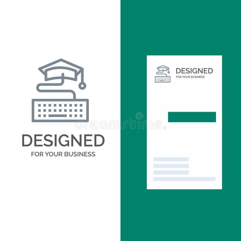 Sleutel, Toetsenbord, Onderwijs, Graduatie Grey Logo Design en Visitekaartjemalplaatje stock illustratie