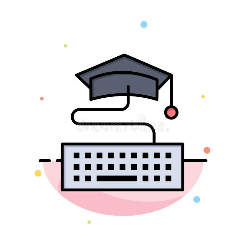 Sleutel, Toetsenbord, Onderwijs, het Pictogrammalplaatje van de Graduatie Abstract Vlak Kleur vector illustratie