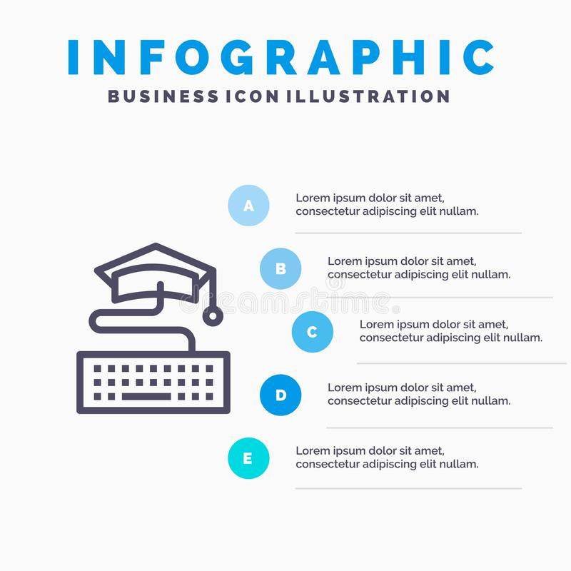 Sleutel, Toetsenbord, Onderwijs, Malplaatje 5 van Graduatie Blauw Infographics Stappen Het vectormalplaatje van het lijnpictogram vector illustratie