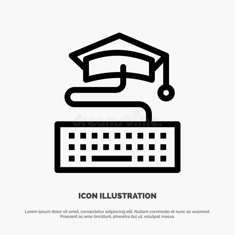 Sleutel, Toetsenbord, Onderwijs, Pictogram van de Graduatie het Vectorlijn stock illustratie