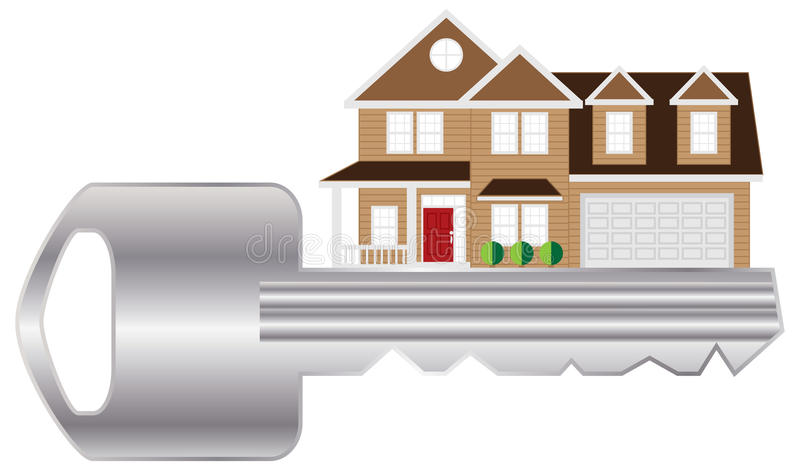 Sleutel tot de vectorillustratie van de Nieuw Huiskleur stock illustratie