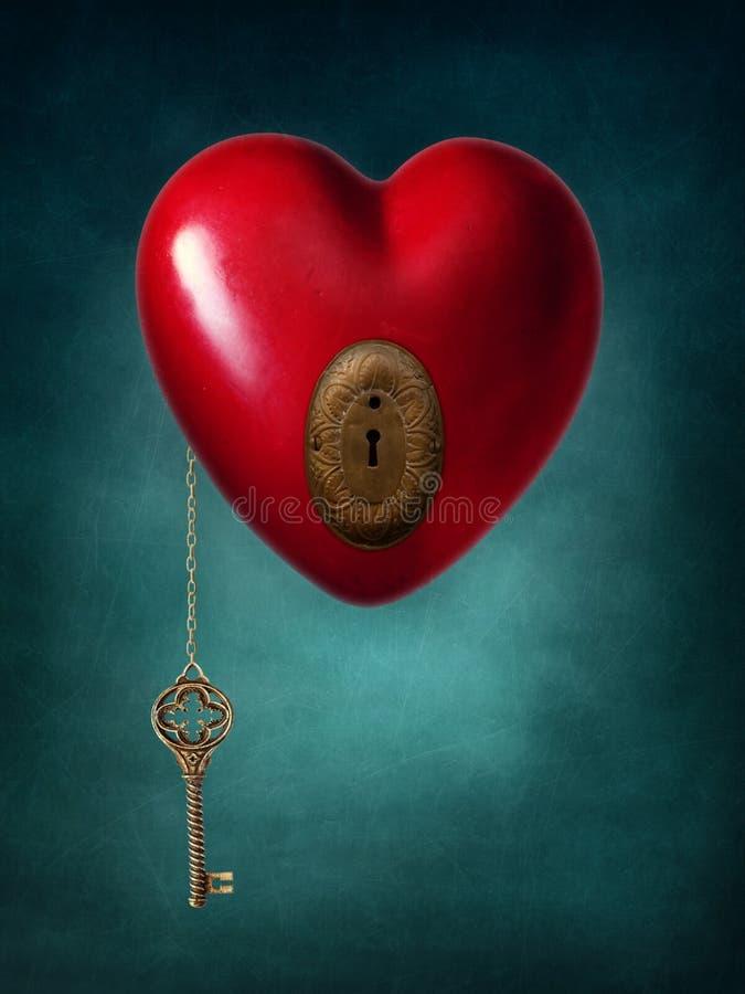 Sleutel tot het hart royalty-vrije stock foto