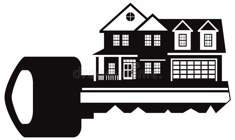 Sleutel tot Nieuw Huis Zwart-witte vectorillustratie stock illustratie