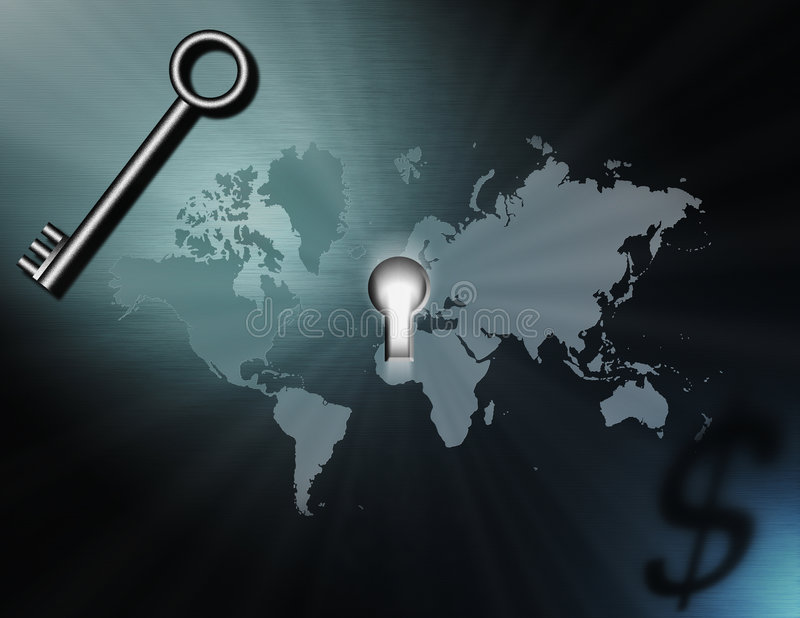 Sleutel tot rijkdom en macht royalty-vrije illustratie