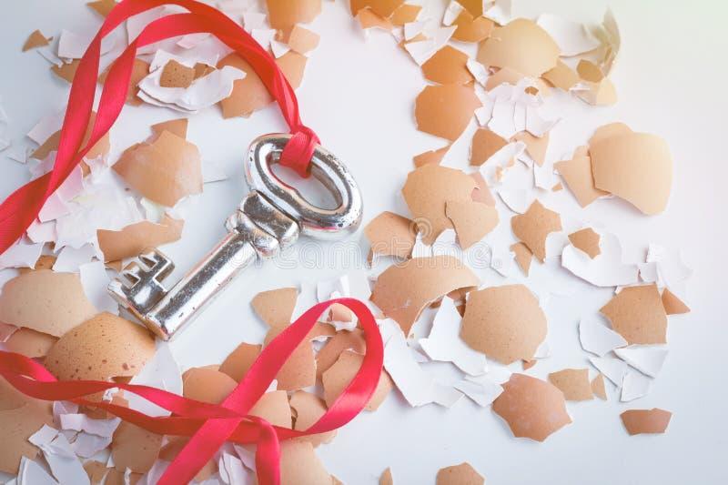 Sleutel tot succes zilveren sleutel met rode lintonderbreking van eishell stock fotografie