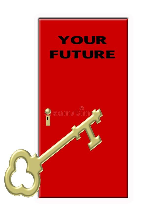 Sleutel tot Uw Toekomst - Gouden Zeer belangrijke en Rode Deur vector illustratie