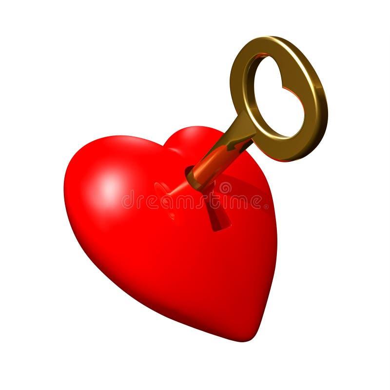 Sleutel voor liefde royalty-vrije illustratie