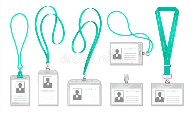 Sleutelkoordidentiteitskaart De houder van de de identificatiekaart van de bureautoegang met halskabel, het ontwerp van het expos stock illustratie