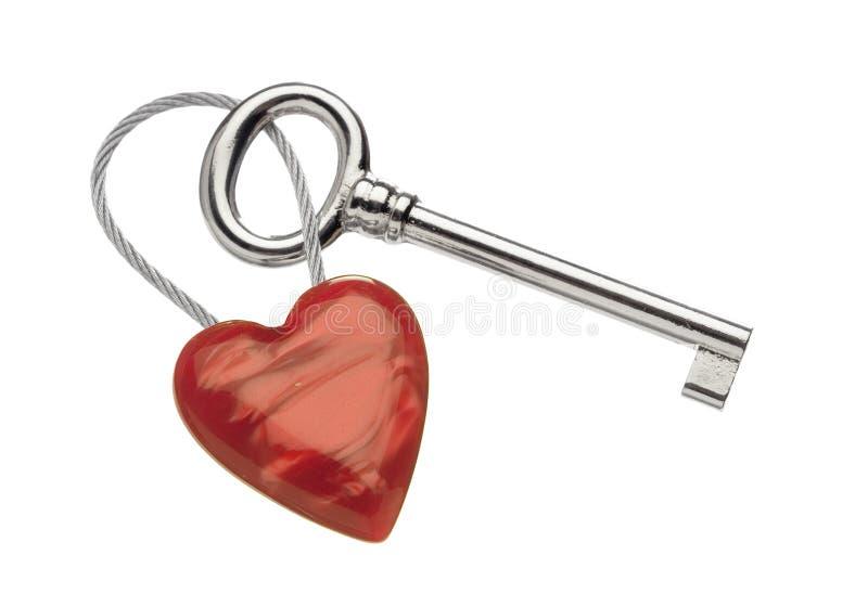 Sleutelring met hart stock afbeeldingen