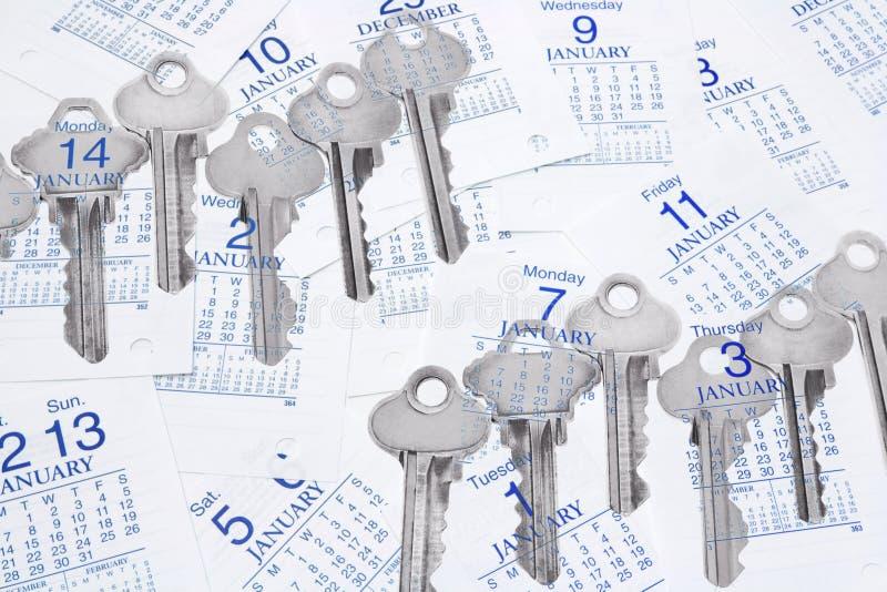Sleutels en de Pagina's van de Kalender stock afbeelding
