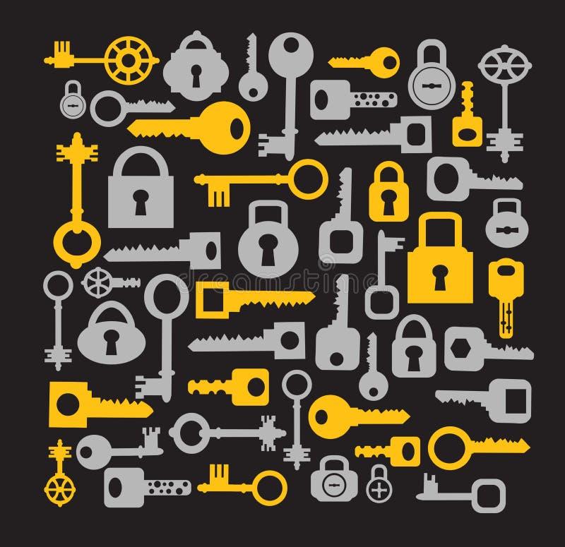 Sleutels en sloten op een zwarte stock illustratie