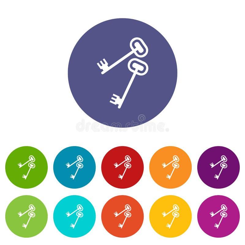 Sleutels geplaatst pictogrammen vector illustratie