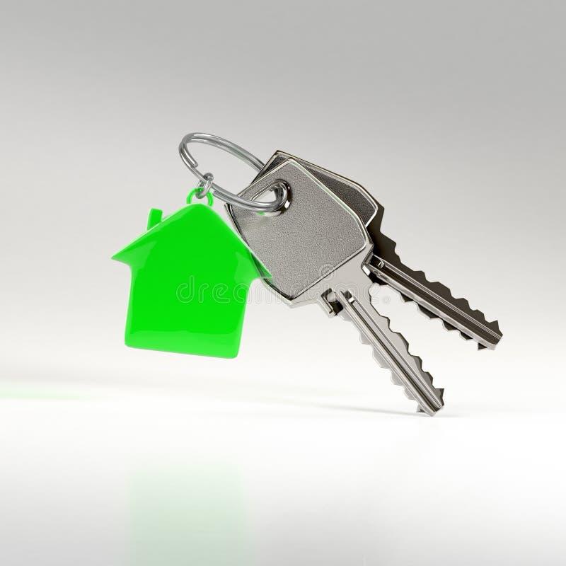 Sleutels met een huistegenhanger stock illustratie