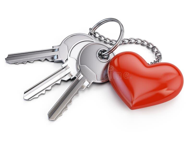 Sleutels met rood hart royalty-vrije illustratie