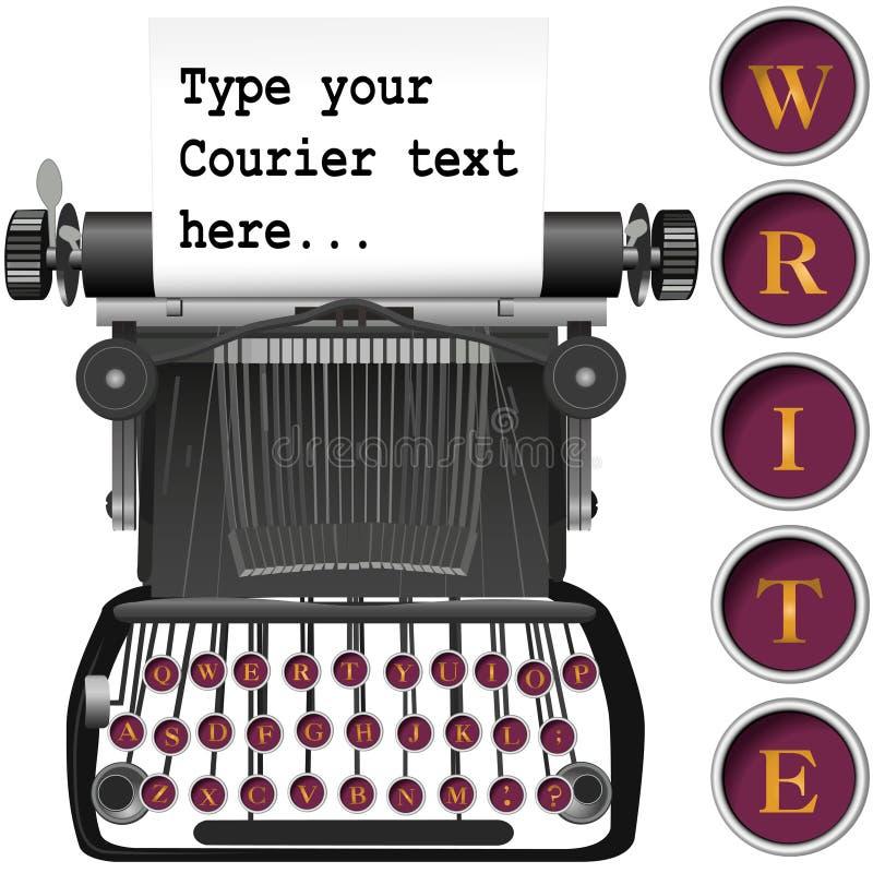 Sleutels op antieke schrijfmachineachtergrond copyspace stock illustratie
