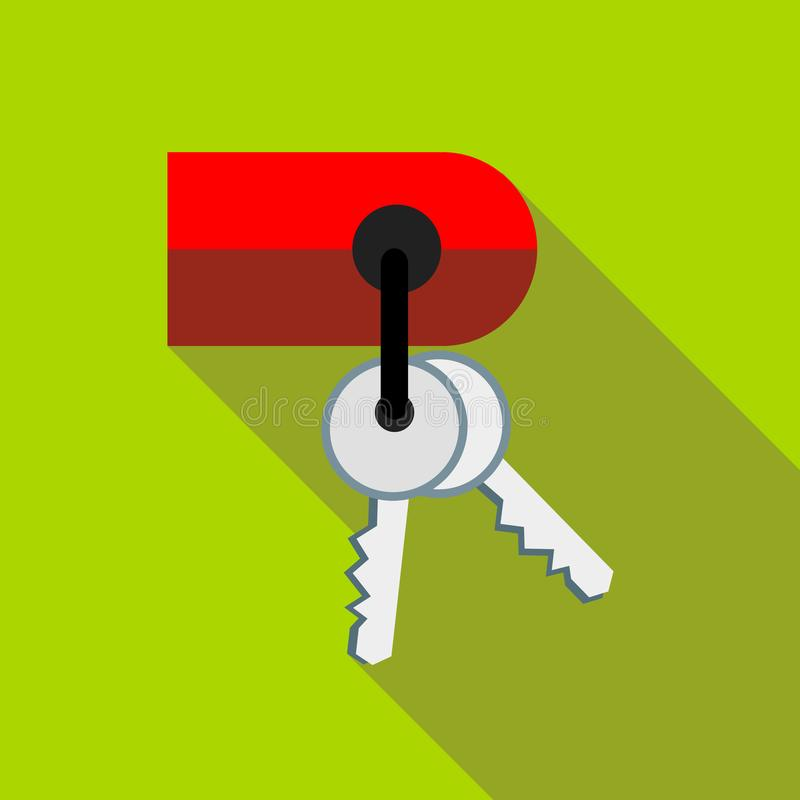 Sleutels op keychainpictogram, vlakke stijl royalty-vrije illustratie