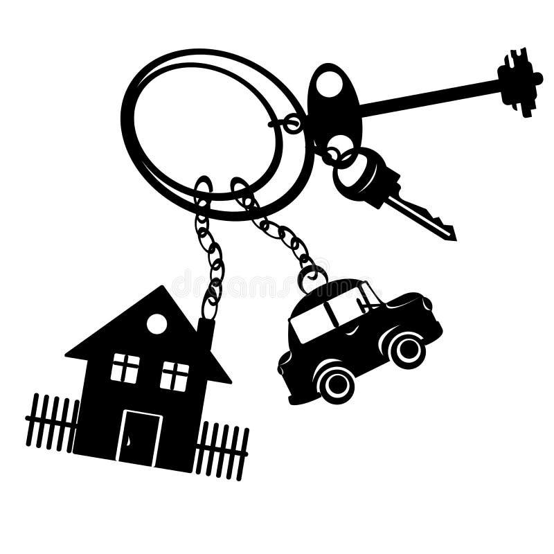 Sleutels van de auto en de huizen vector illustratie