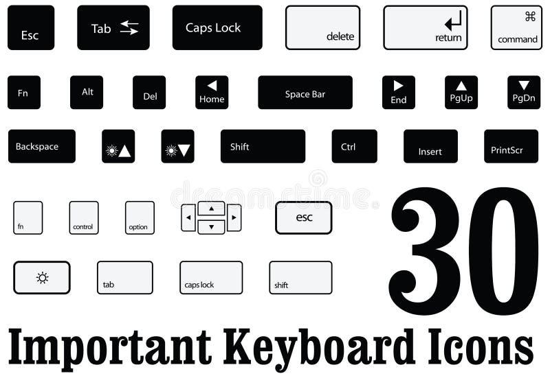 Sleutels van de computer de zeer belangrijke raad en knopen van MAC en vensters in Vector stock illustratie