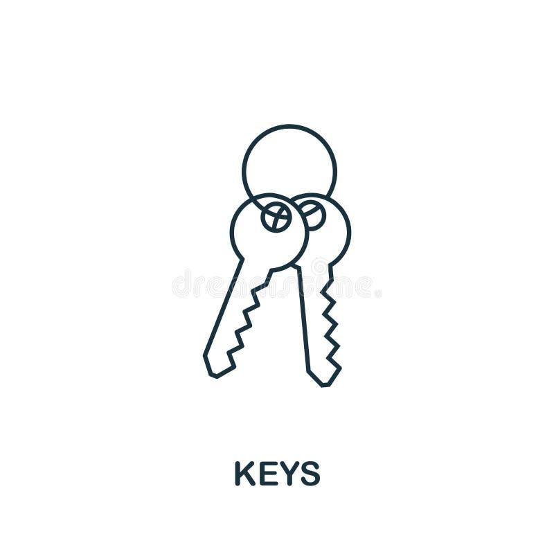 Sleutelspictogram Eenvoudige elementenillustratie Het pictogramontwerp van het sleutelsoverzicht van onroerende goedereninzamelin royalty-vrije illustratie