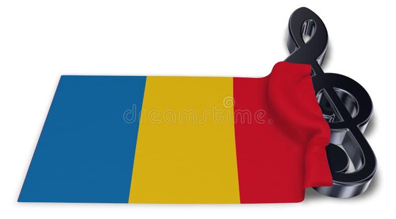 Sleutelsymbool en vlag van Roemenië stock illustratie