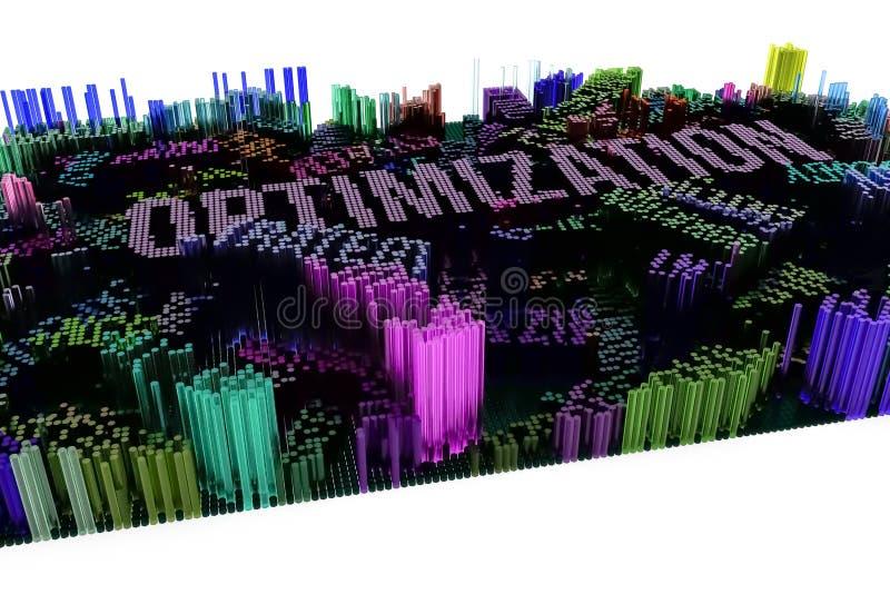 Sleutelwoord van Optimalisering Het kleurrijke 3d teruggeven Vormcompositio vector illustratie