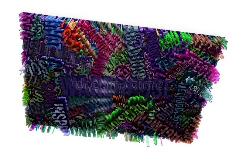 Sleutelwoord van Pakhuis Het kleurrijke 3d teruggeven Abstracte vorm comp vector illustratie