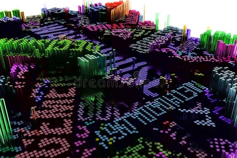 Sleutelwoord van Pakhuis Het kleurrijke 3d teruggeven Geometrische Structuur royalty-vrije illustratie