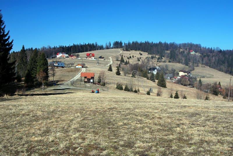 On the Slezske Beskydy Mts. Czech-polish borderland in Slezske Beskydy Mts royalty free stock photos
