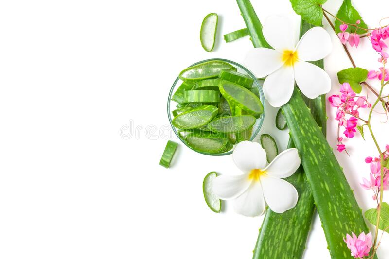 Slice Aloe Vera in glass with pink  creeper and Plumeria flower royalty free stock photography