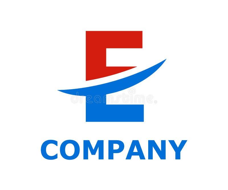 Slice alphabet logo e. Light blue and red color logo symbol slice type letter e by blade initial business logo design idea illustration shape for modern premium stock illustration