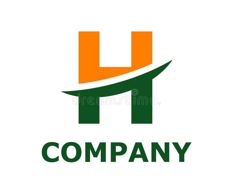 Slice alphabet logo h. Green and orange color logo symbol slice type letter h by blade initial business logo design idea illustration shape for modern premium royalty free illustration